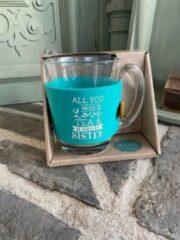 Blauwe Creaties van hier Theeglas / met tekst All you need is love tea and a great sister / cadeau / verjaardag / kerstmis / vaderdag / moederdag / vriendschap