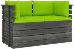 Groene VidaXL Tuinbank 2-zits met kussens pallet massief grenenhout