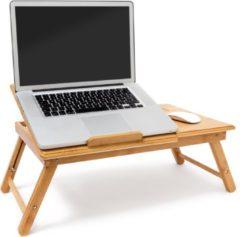 Naturelkleurige Relaxdays laptoptafel bamboe, bedtafel, bijzettafel laptop standaard verstelbaar