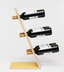 Gele Wijnpaal Compact Six Yellow Wijnrek - Klein staand flessenrek van hout voor 6 wijnflessen met een uniek en modern design