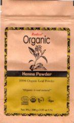 Radico ORGANIC HENNA 100% Natuurlijke BIO Organic Haarverf Rood Zonder Ammoniak, Ammonia, PPD, PTD, Peroxide, Waterstofperoxide etc. o.a. Henna, met o.a. ECOCERT 100g