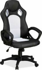 Relaxdays Gaming stoel XR9, PC gamestoel, gamer bureaustoel, belastbare Racing stoel wit