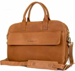 Negotia Leather NEGOTIA Alpha - Leren Laptoptas Heren en Dames - 15,6 inch - Luxe Top-Grain Leer - Bruin