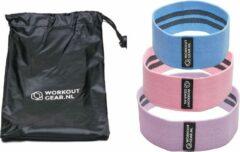 Lichtblauwe Workout Gear ® Workout Gear - 3 Weerstandsband Set - 14-21kg - GRATIS handleiding