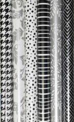Merkloos / Sans marque 6 rollen Luxe Cadeaupapier - Inpakpapier Zwart Wit - 200 x 70cm