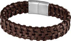 Frank 1967 Audacious Leather 7FB 0279 Leren Gevlochten Armband met Staal Element - lengte 21 cm - Bruin