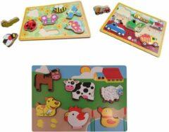 Playwood puzzel dikke stukken boerderij insecten en bouwplaats u krijgt 3 assorti geleverd