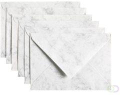 Papicolor Envelop Formaat 114 X 162 Mm C6 Kleur Gemarmerd Grijswit