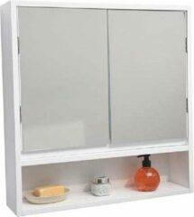 Gebor Praktische en Brede Wandkast van MDF met 2 spiegeldeuren - Wit - 58x56x13cm - Opbergkast - Badkamer meubel - Opbergmeubel - Spiegels