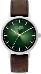 Frank 1967 Watches 7FW 0022 Stalen Horloge met Leren Band - Ø42 mm - Groen/ Zilverkleurig