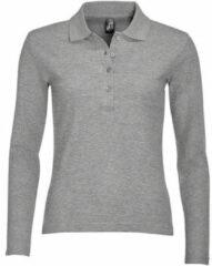 Grijze Polo Shirt Lange Mouw Sols PODIUM COLORS
