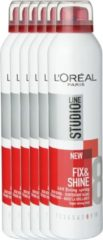 L'Oréal Paris Studio Line Essentials Fix & Shine 24H Fixing Spray Super Strong - 6 x 250 ml - Spray - Voordeelverpakking