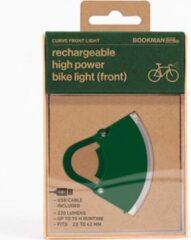 Bookman Curve Fietsverlichting - LED Voorlicht - Oplaadbaar via USB - Compact Design - Groen