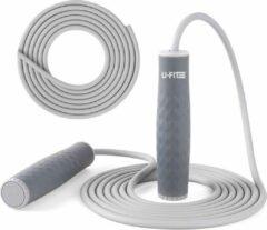 Grijze U-Fit One U Fit One® Heavy Springtouw met extra touw - 450g Weighted Jump Rope - 7mm PVC rope - Volwassenen - Crossfit - Fitness - Skipping Rope - Jump Rope - Verstelbaar - Speedrope - Siliconen - ufitone