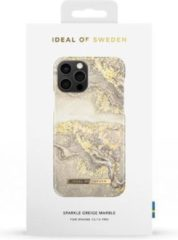 Bruine IDeal of Sweden Fashion Backcover voor iPhone 12, iPhone 12 Pro - Sparkle Grey Marble