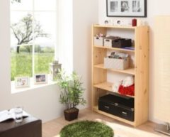 Ticaa Standregal Bücherregal Kiefer massiv Natur 132cm hoch