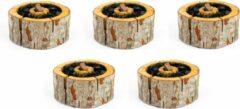 Bruine 5 Stuks Ecogrill maat L 20x20cm - Ecologische wegwerp barbecue / Milieuvriendelijke wegwerp bbq - eenmalig gebruik
