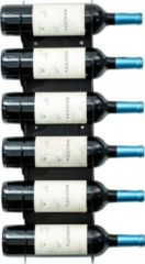 Ferro Duro Wijnrek voor aan de muur - geschikt voor 6 flessen - zwart - flessenrek