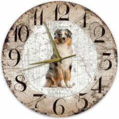 Bruine Creatief Art Houten Klok - 30cm - Hond - Australian Shepherd Dog