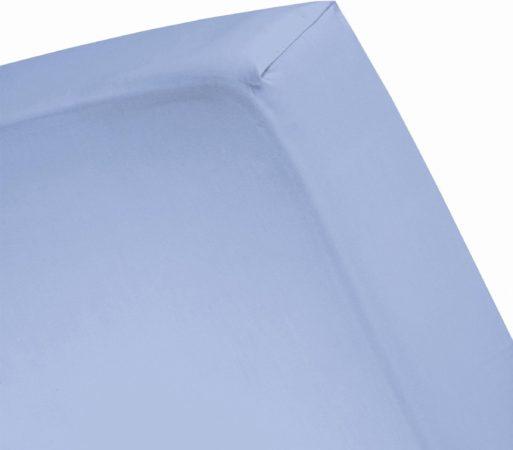 Afbeelding van Azuurblauwe Damai - Hoeslaken hoge hoek (tot 35 cm) - Katoen - 160 x 200 cm - Azure