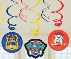 6x Hangdecoratie/rotorspiralen in Paw Patrol thema - Thema feest decoratie voor kinderfeestje of verjaardag