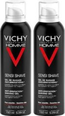 Vichy Homme Scheergel - 2 x 150 ml - Anti-irritatie - Voordeelpack