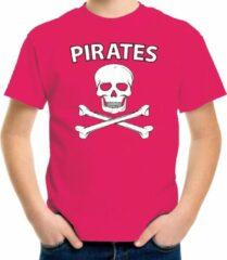 Bellatio Decorations Fout piraten shirt / foute party verkleed shirt roze voor jongens en meisjes - Foute party piraten kostuum kinderen - Verkleedkleding S (122-128)