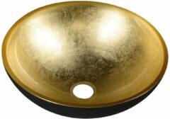 Sapho Murano glazen waskom 40cm zwart / goud