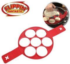 Rode Flippin Fantastic - Mini pannenkoekjes maker - pannenkoeken - bakvorm siliconen - pannenkoekenmaker - eieren - omelet