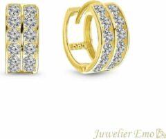 Gele Juwelier Emo - 14 Karaat Gouden Kinderoorbellen Meisje - Dubbele rij Zirkonia stenen - 11,5 MM