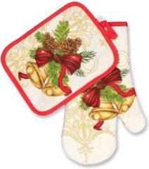 Rode Unique Living Kerst -Keukenset - 2 delig - met Klok en bellen
