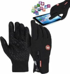 AA Commerce Fietshandschoenen Winter Met Touch Tip Gloves - Anti-Slip - Touchscreen Sport Handschoenen - Dames / Heren - Zwart - Large