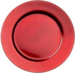 Merkloos / Sans marque 1x Ronde kaarsenborden/onderborden rood 33 cm - Onderbord - Kaarsenbord - Onderzet bord voor kaarsen