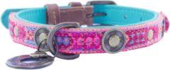 Dwam Halsband Boho Rosa Roze&Bruin - Hondenhalsband - 25-31x2.0 cm