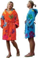 Funky badjas Dames badjas oranje - lengte 100cm - capuchon - velours katoen - maatXl/XXL