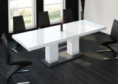 Witte Hubertus Meble Uitschuifbare Eettafel Linosa 160cm tot 260cm - Hoogglans Wit