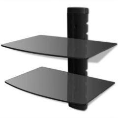 Zwarte VidaXL Glazen wandrek met 2 planken voor DVD's