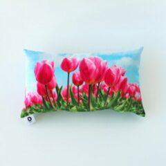 Lichtblauwe Decolenti | Spring Tullips | Tulpen Kussenhoes | Roze | Groen | Blauw | 30 x 50cm
