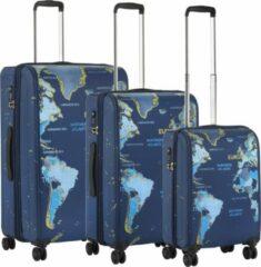 Blauwe TravelZ Hybrid World Map Kofferset – Trolleyset 3-delig met TSA-slot – Ultralicht - OKOBAN – Expander - YKK ritsen