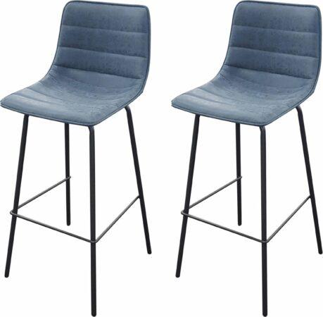 Afbeelding van Gebor Set van 2 barkrukken – Hoge Kruk – Hoge Stoel – Denim Blauw – Industrieel – Zwart Staal – 44x53x92cm