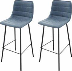 Gebor - Set Van 2 Barkrukken - Hoge Kruk - Hoge Stoel - Denim Blauw - Industrieel - Zwart Staal - 44x53x92cm