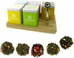 Dutch Tea Maestro - thee cadeau voor haar - 5 losse thee blikjes op thee plateau - origineel cadeau