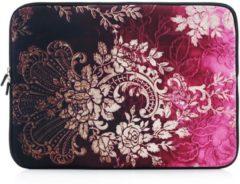 Bruine Laptop sleeve tot 14 inch met barok print – Bruin/Fuchsia/Zwart
