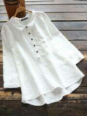 Newchic Casual Solid Color Shirt Lapel Collar Long Sleeve Cotton Blouse