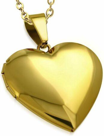 Afbeelding van Gouden Montebello Ketting Ariel G - 316L Staal - Hart - Medaillon - ∅30mm - 45cm
