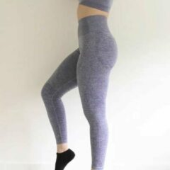 LOUZIR Fitness/Yoga legging - Fitness legging - sport legging Stretch - squat proof - grijs - Naadloos - Maat L