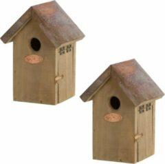Bruine 2x Houten vogelhuisjes/nestkastjes winterkoning koperen dak - Tuindecoratie vogelnest nestkast vogelhuisjes - tuindieren