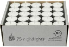 Enlightening Candles 75x Witte theelichtjes/waxinelichtjes 8 branduren - Geurloze kaarsen - Nightlights kaarsjes - Extra lange brandduur/brandtijd