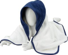 Donkerblauwe A&R Babiezz™ Babycape 100% Katoen Wit/Donkerblauw