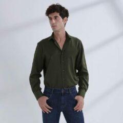 Heren Overhemd Groen MT 48 - Baurotti Lange Mouw Regular fit